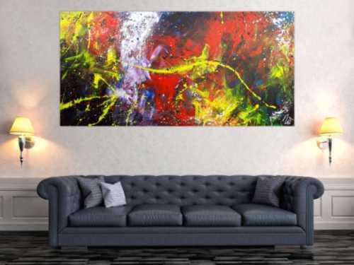 Abstraktes Acrylbild Action Painting sehr modern bunt viele Farben rot schwarz geld blau weiß
