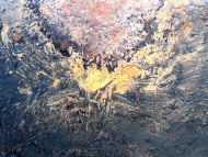 Detailaufnahme Abstraktes Bild aus Ectem Rost und Acryl Mischtechnik sehr modern Kunst aus Rost