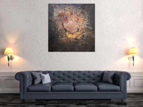 Abstraktes Bild aus Ectem Rost und Acryl Mischtechnik sehr modern Kunst aus Rost