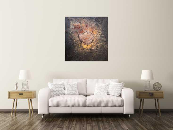 #1183 Abstraktes Bild aus Ectem Rost und Acryl Mischtechnik sehr modern ... 100x90cm von Alex Zerr