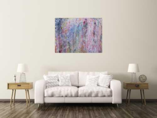 Abstraktes Acrylbild bunt helle Farben sehr modern Action Painting Mischtechnik zeitgenössisch