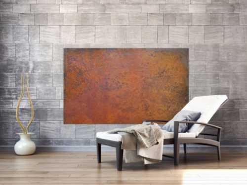 Abstraktes Bild aus echtem Rost sehr modern braun orange Rostfarbe zeitgenössisch