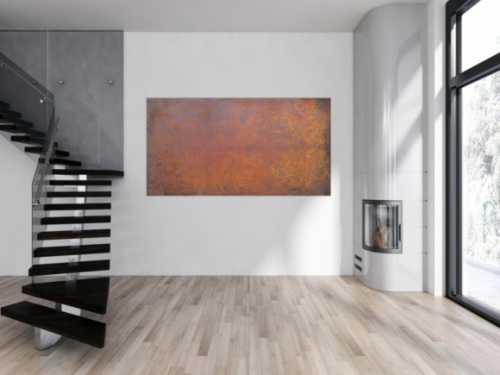 Abstraktes Bild aus echtem Rost moderne Malerei aus Rost auf Leinwand sehr modern zeitgenössisch
