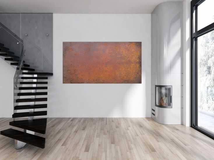 #1186 Abstraktes Bild aus echtem Rost moderne Malerei aus Rost auf Leinwand ... 120x200cm von Alex Zerr