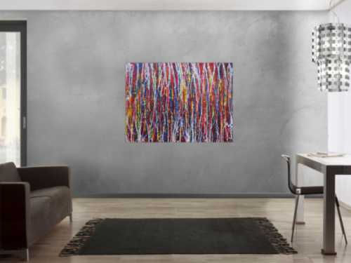 Abstraktes Acrylbild sehr bunt moderne Malerei Action Painting Modern Art zeitgenössisch