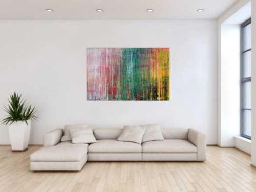 Abstraktes Acrylbild sehr modern in Spachteltechnik rot rosa grün gelb zeitgenössische Kunst