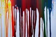 Detailaufnahme Abstraktes Acrylbild sehr bunt in Fließtechnik Fluidpainting zeitgenössisch modern im Hochformat
