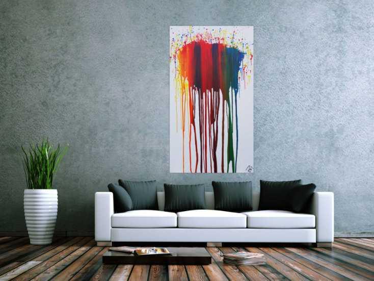 #1189 Abstraktes Acrylbild sehr bunt in Fließtechnik Fluidpainting ... 140x80cm von Alex Zerr