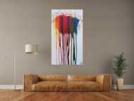 Abstraktes Acrylbild sehr bunt in Fließtechnik Fluidpainting zeitgenössisch modern im Hochformat