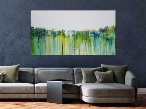Abstraktes Acrylbild sehr modern in weiß gelb grüb blau Mischtechnik zeitgenössisch