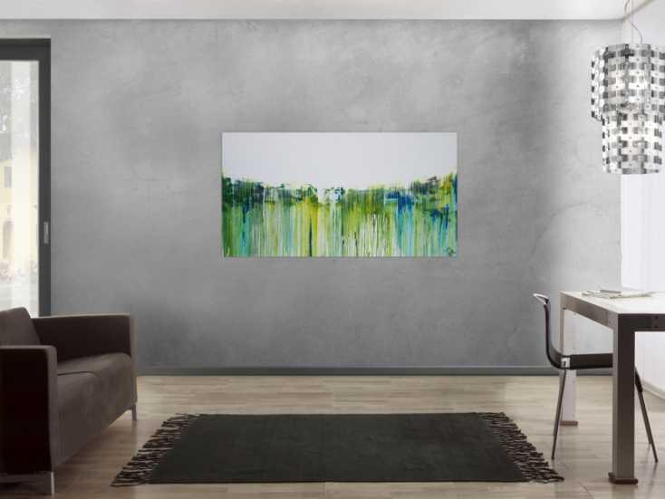 #1191 Abstraktes Acrylbild sehr modern in weiß gelb grüb blau ... 80x150cm von Alex Zerr