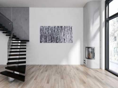 Abstraktes Acrylbild modern in schwarz weiß schlicht zeitgenössisch Action Painting
