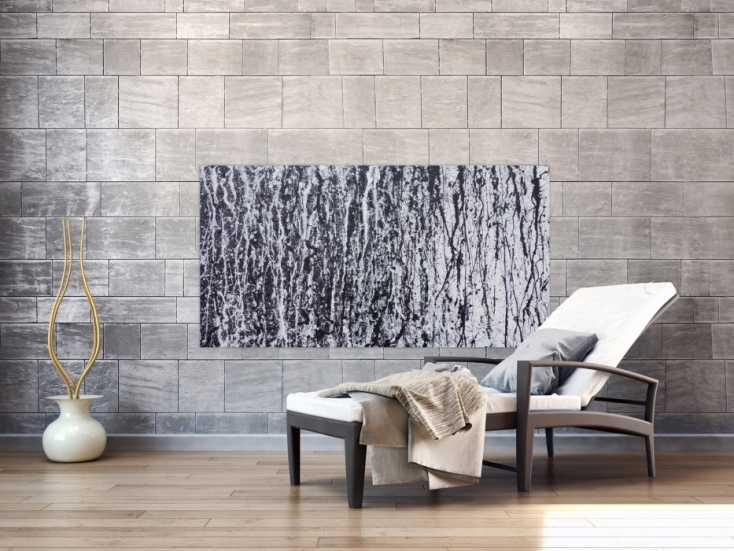 #1192 Abstraktes Acrylbild modern in schwarz weiß schlicht zeitgenössisch ... 80x150cm von Alex Zerr