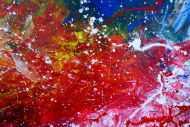 Detailaufnahme Abstraktes Acrylbild sehr modern bunt rot blau weiß grün Action Painting Mischtechnik