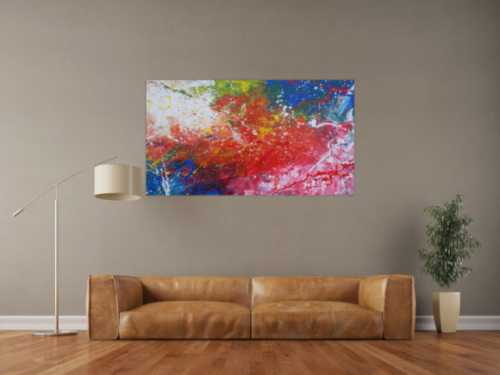 Abstraktes Acrylbild sehr modern bunt rot blau weiß grün Action Painting Mischtechnik
