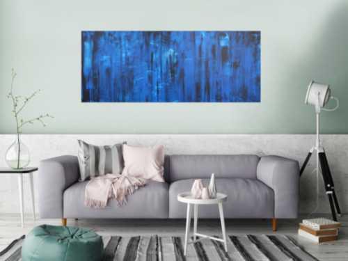 Abstraktes Acrylbild in blau und schwarz Mischtechnik sehr modern zeitgenössisch schlicht