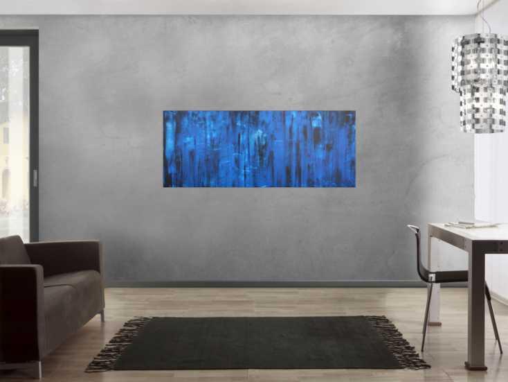 #1194 Abstraktes Acrylbild in blau und schwarz Mischtechnik sehr modern ... 65x160cm von Alex Zerr