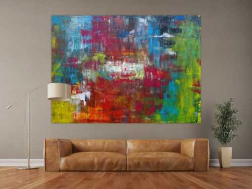 Abstraktes Acrylbild sehr modern in Spachteltechnik bunt viele Farben Modern Art