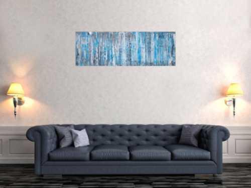 Abstraktes Acrylbild in Spachteltechnik sehr modern türkis grau weiß schwarz zeitgenössisch