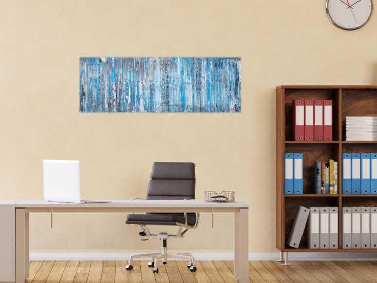 #1196 Abstraktes Acrylbild in Spachteltechnik sehr modern türkis grau ... 40x120cm von Alex Zerr