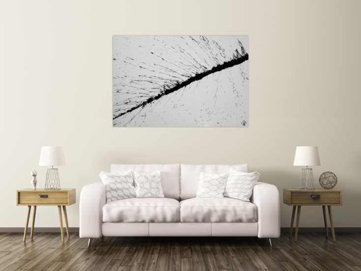 #1197 Abstraktes Acrylbild minimalistisch schwarz weiß Action Painting ... 100x150cm von Alex Zerr