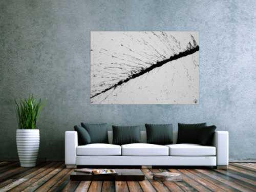 Abstraktes Acrylbild minimalistisch schwarz weiß Action Painting Splash Art modern schlicht
