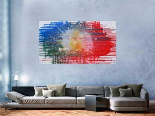 Abstraktes Acrylbild sehr modern in rot blau weiß Splash Art Fluid Painting Mischtechnik
