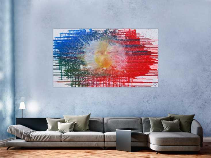 #1198 Abstraktes Acrylbild sehr modern in rot blau weiß Splash Art Fluid ... 100x180cm von Alex Zerr