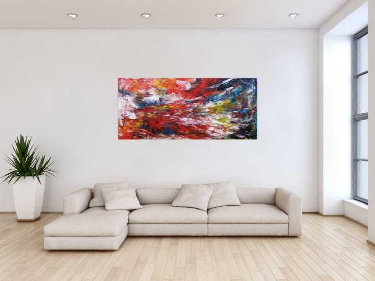 #1199 Abstraktes Acrylbild sehr bunt modern Spachteltechnik zeitgenössisch ... 70x160cm von Alex Zerr