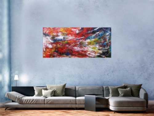 Abstraktes Acrylbild sehr bunt modern Spachteltechnik zeitgenössisch Modern Art viele Farben