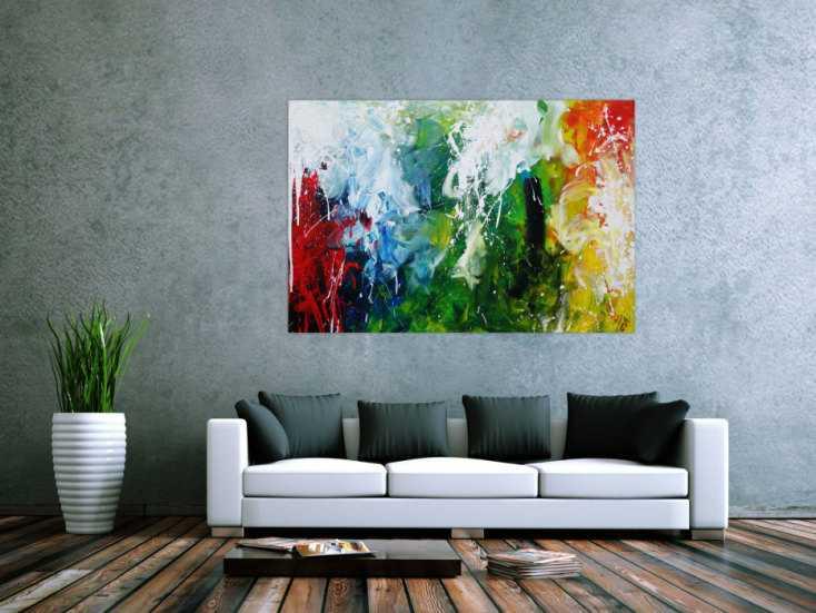 #1200 Abstraktes Acrylbild sehr bunt Action Painting sehr modern bunte ... 100x150cm von Alex Zerr