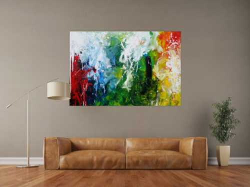 Abstraktes Acrylbild sehr bunt Action Painting sehr modern bunte Farben rot weiß grün blau gelb schwarz