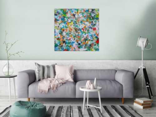 Abstraktes Acrylbild sehr bunt modern Mischtechnik viele bunte helle Farben