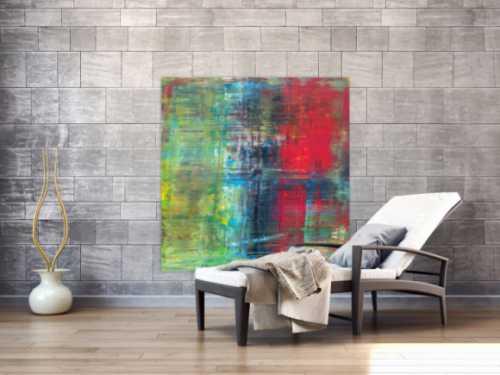Abstraktes Acrylbild im Hochformat Spachteltechnik sehr modern rot schwarz gelb olive zeitgenössische Malerei handgemalt