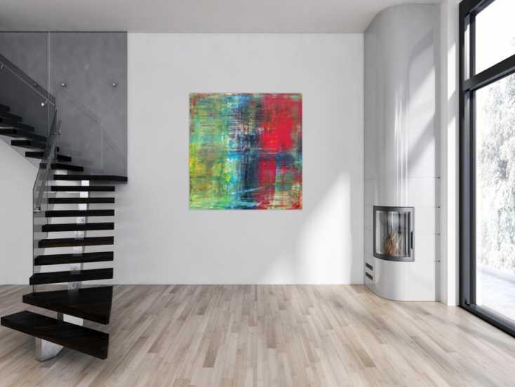 #1202 Abstraktes Acrylbild im Hochformat Spachteltechnik sehr modern rot ... 130x120cm von Alex Zerr