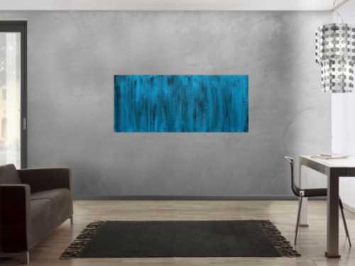 Abstraktes Acrylbild türkis schwarz modern zeitgenössisch handgemaltes Bild
