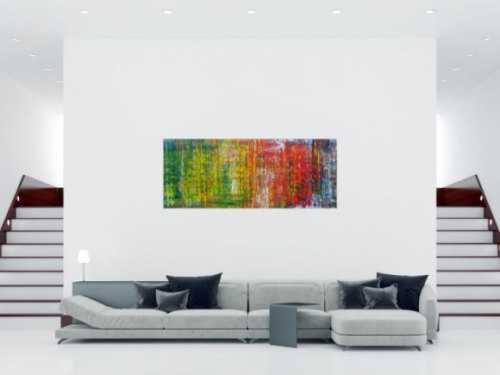 Abstraktes Acrylbild sehr modern in Spachteltechnik viele Farben sehr bunt zeitgenössisch handgemalt