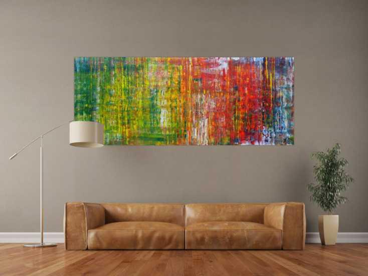 #1204 Abstraktes Acrylbild sehr modern in Spachteltechnik viele Farben sehr ... 80x200cm von Alex Zerr