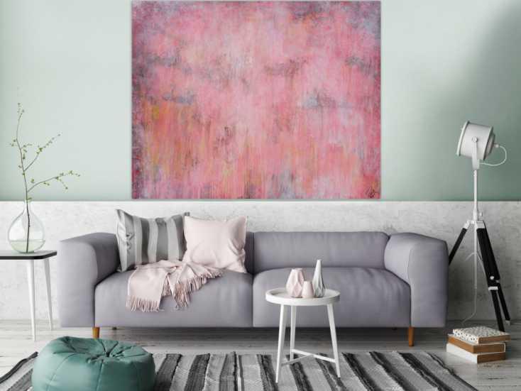 abstraktes acrylbild helle farben blass rosa altrosa gelb anthrazit sehr modern schlicht. Black Bedroom Furniture Sets. Home Design Ideas