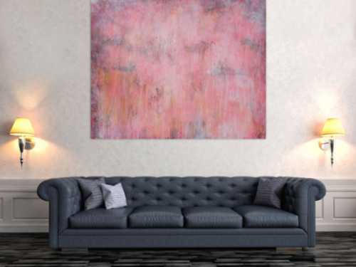 Abstraktes Acrylbild helle Farben blass rosa altrosa gelb anthrazit sehr modern schlicht zeitgenössisch handgemalt