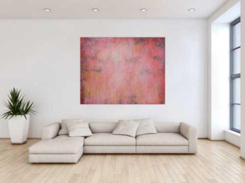 Abstraktes Acrylbild sehr modern helle Farben blass rosa altrosa gelb anthrazit schlicht zeitgenössisch handgemalt