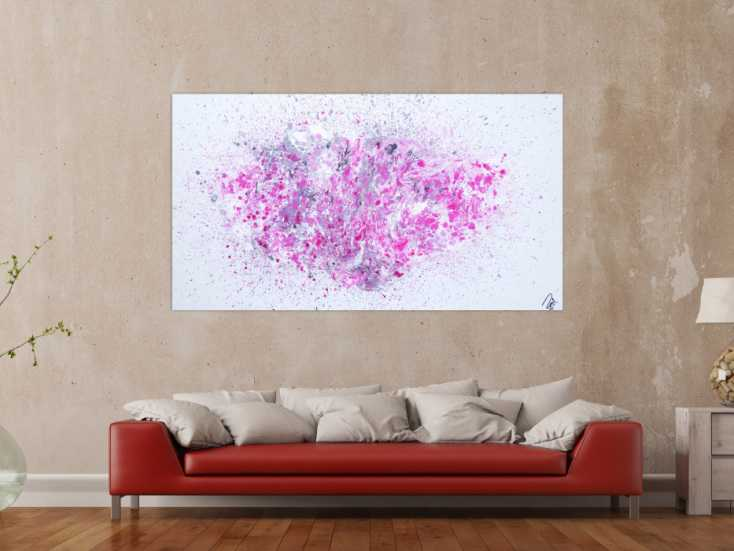 abstraktes acrylbild fluid painting flie technik wei grau rosa modern zeitgen ssisch auf. Black Bedroom Furniture Sets. Home Design Ideas