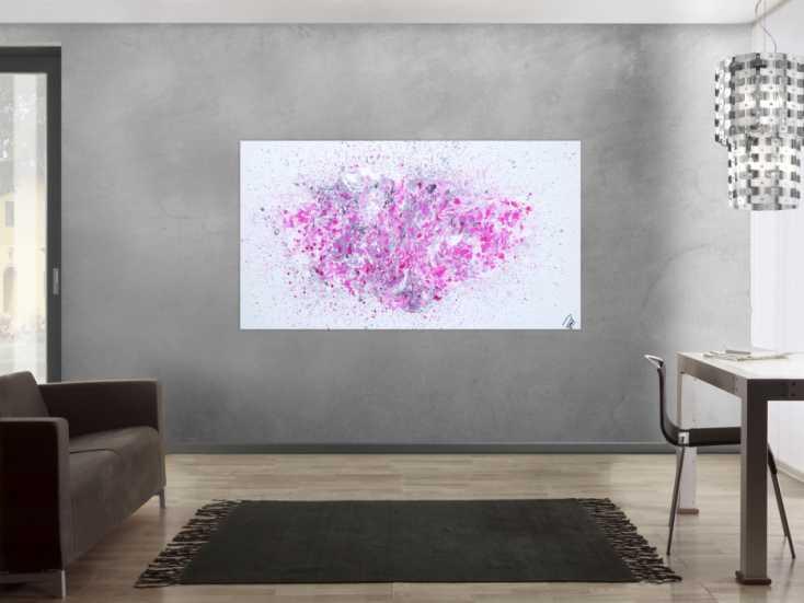 #1206 Abstraktes Acrylbild Fluid Painting Fließtechnik weiß grau rosa ... 100x180cm von Alex Zerr