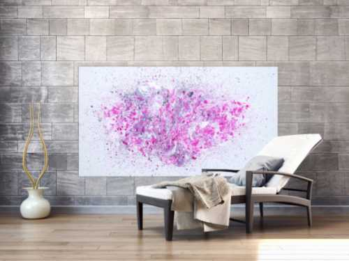 Abstraktes Acrylbild Fluid Painting Fließtechnik weiß grau rosa modern zeitgenössisch