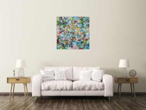 Abstraktes Acrylbild sehr bunt viele Farben zeitgenössisch modern handgemalt