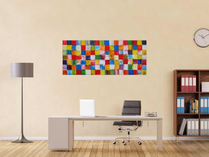 #1208 Abstraktes Acrylbild sehr bunt viele bunte Flächen Karomuster ... 60x150cm von Alex Zerr