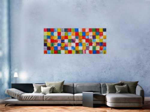 Abstraktes Acrylbild sehr bunt viele bunte Flächen Karomuster zeitgenössisch modern sehr farbig