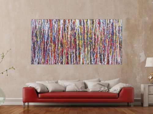 Abstraktes Acrylbild sehr bunt Action Painting sehr modern viele Farben zeitgenössisch modern