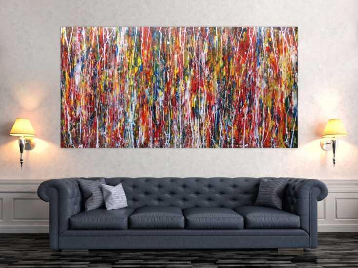modernes acrylbild abstrakt und bunt auf leinwand 100x200cm. Black Bedroom Furniture Sets. Home Design Ideas
