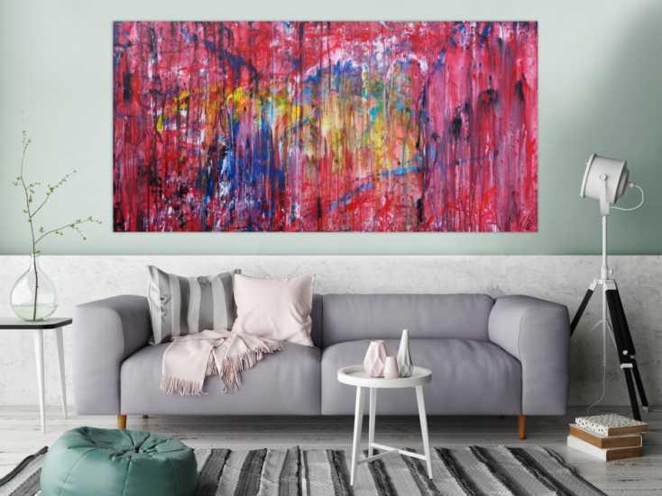 #1210 Abstraktes Acrylbild sehr modern Action Painting Mischtechnik ... 100x200cm von Alex Zerr